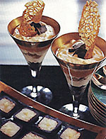 parfait and chocolate coconut sushi