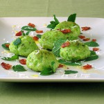 perfect pea gnocchi with bacon and mint