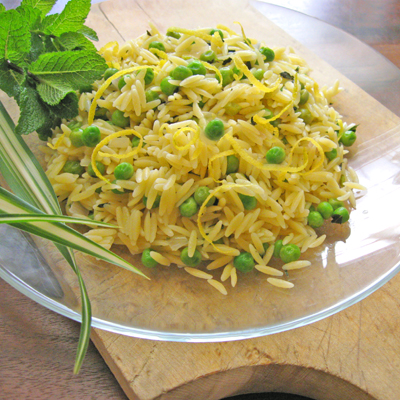 Orzo and Peas with Mint and Lemon Zest - SippitySup