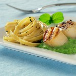 Grilled Scallops and Fettuccine with English Pea Butter Sauce