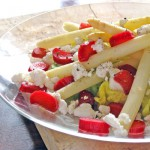 White Asparagus Salad with Goat Cheese & Pickled Rhubarb