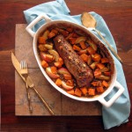 Apple Molasses Roasted Pork Tenderloin with Sweet Potatoes, Apples and Walnuts