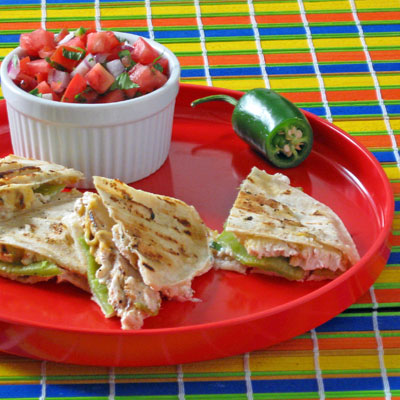 smoky grilled quesadilla with anaheim chilis and chicken