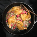 Chicken Legs & Thighs Braised in a Savory Rhubarb Onion Sauce