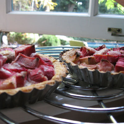 rhubarb tarts cool on the window