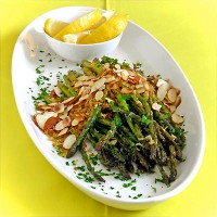 Roast Asparagus with Garlic-Butter Breadcrumbs & Toasted Almonds