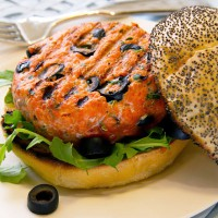 salmon burger with black olives