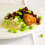 Spiced Salmon with Wine Braised Shallots, Edamame &amp; Sunchoke Puree