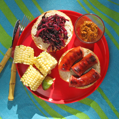 grilled sausage sandwich pickled cabbage