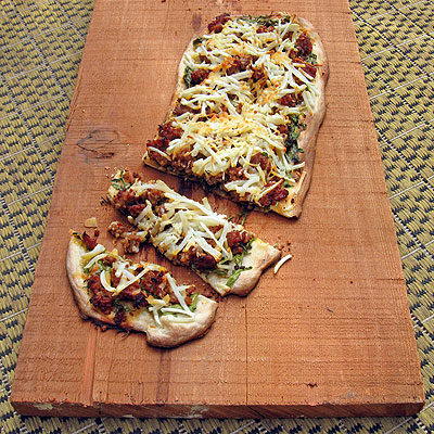 Sausage &amp; Potato Flat Bread with Mustard Greens