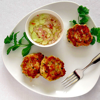 Lemongrass Crab & Scallop Cakes with a Spicy Cucumber Dipping Sauce ...