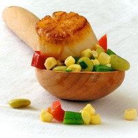 Succotash and Perfectly Seared Scallops
