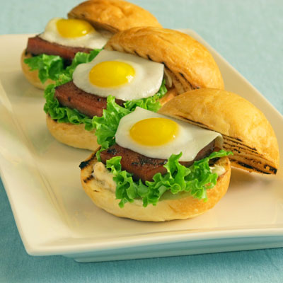 Spam sliders with quail eggs