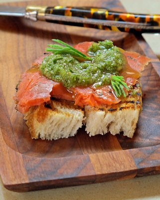 Spruce Cured Gravlax with Spruce Pesto Crostini