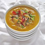 Roasted Butternut Squash Soup with Wild Rice and Apples