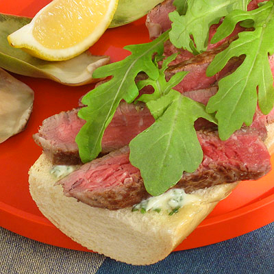 Beef Tenderloin Sandwiches with Herb Mayonnaise and Arugula