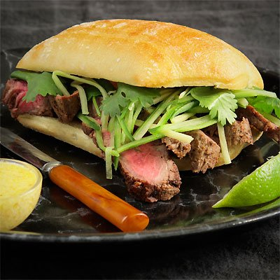 Flatiron Steak Sandwich With Cucumber, Ginger Relish &amp; Ghost Chili Aioli