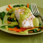 Steamed White Fish with Julienned Carrots and Spinacg with Lemon-Green Onion Sau