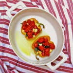 Stuffed Bell Peppers with Tomatoes, Basil and Feta
