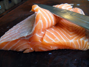 thinly sliced salmon