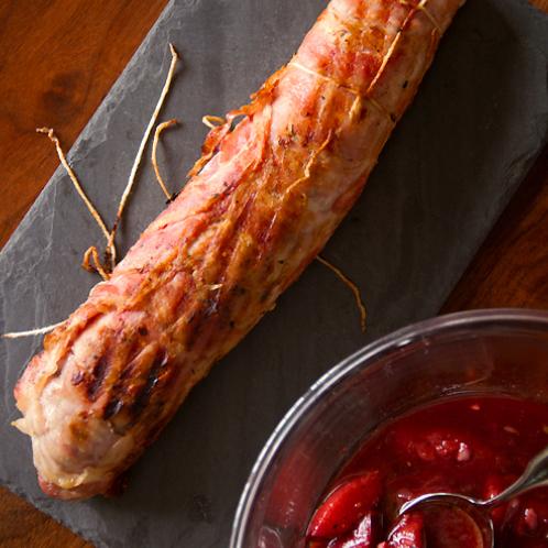 Grilled Pancetta-Wrapped Pork Tenderloin with Plum Chutney ...